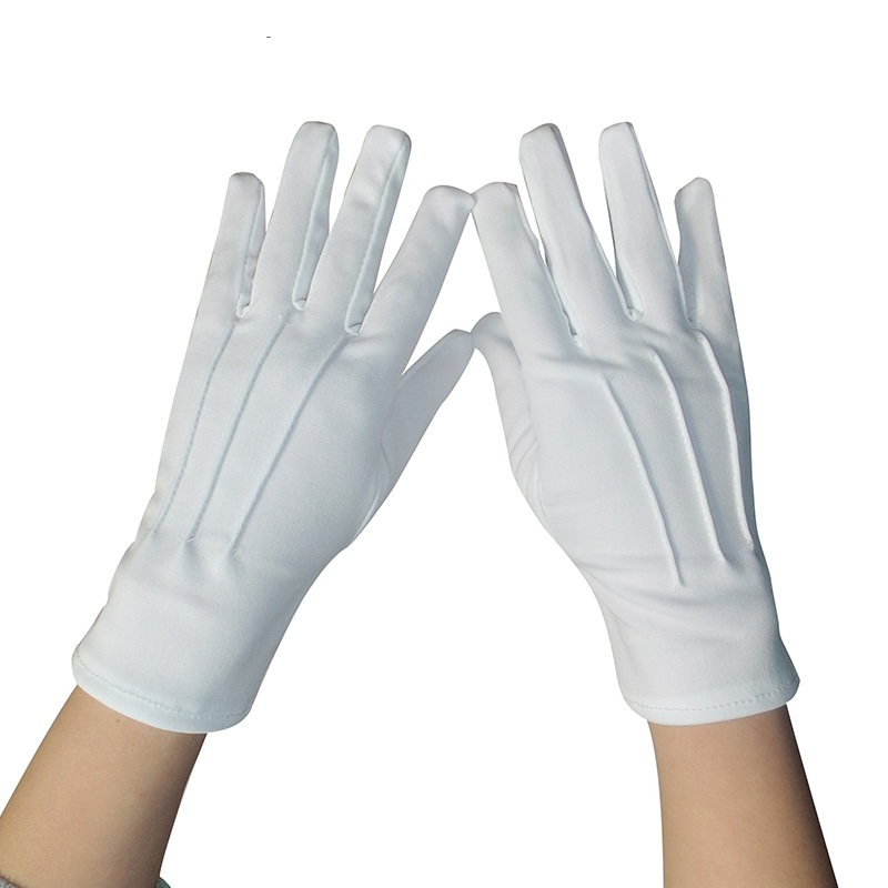 1 Pair White dacron Ceremonial gloves driver Magician Server Catering inspection male and female Gloves A1001 ...