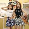 O desgaste do verão novo colete preto curto barriga Coreano blusa sem mangas cintura estudante selo