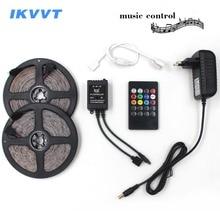 IKVVT LED Strip Light SMD 2835 RGB DC 12V LED Diode Tape Tire led Ribbon with Music Remote Controller Power / Adapter Supply 12v