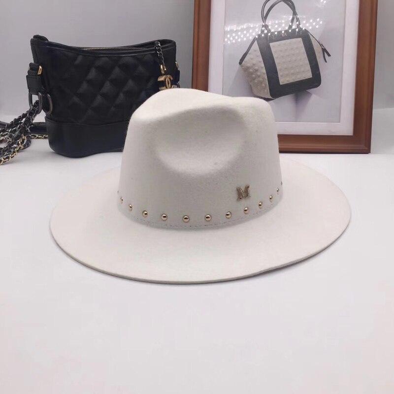 349c4629cfafe Han edición estándar M blanco sombreros sombrero de lana Nueva Inglaterra  Otoño Invierno remache tapa marea hombre sombreros
