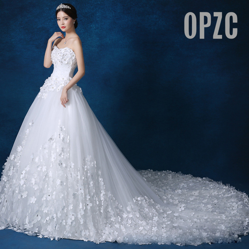 Luxury Crystal Pearls lace 3D flower Sweetheart White Ivory Red Champagne Fashion Royal TrainWedding Dresses brides