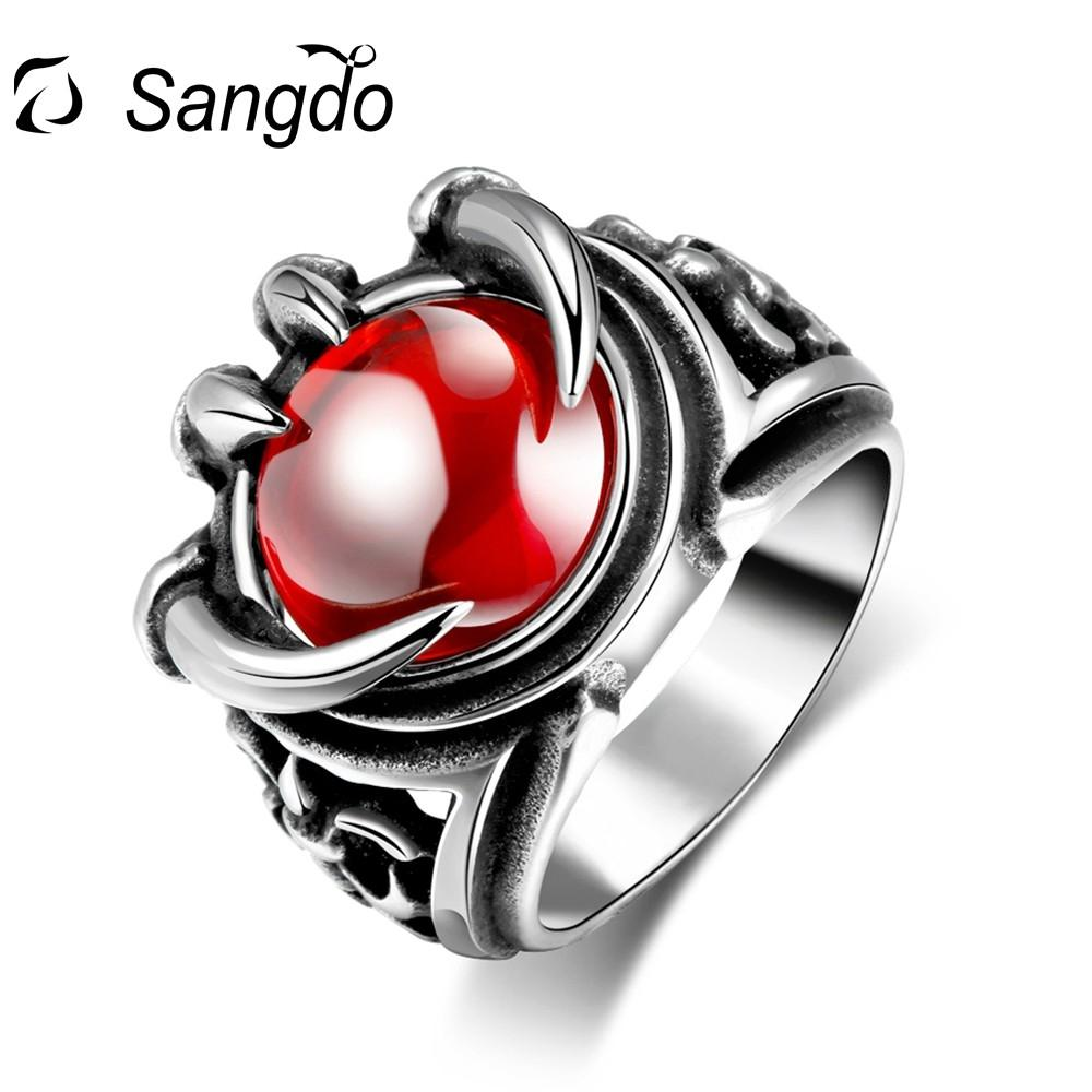 Sangdo Ring 316L Stainless Steel Men Vintage Jewelry Red Beads Modelling Rings For Black Friday AndXmas Birthday Gift
