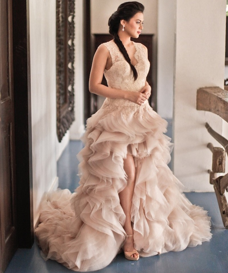 Wedding Dress Ruffles V Neck High Low With Lace Blush Pink Elegant