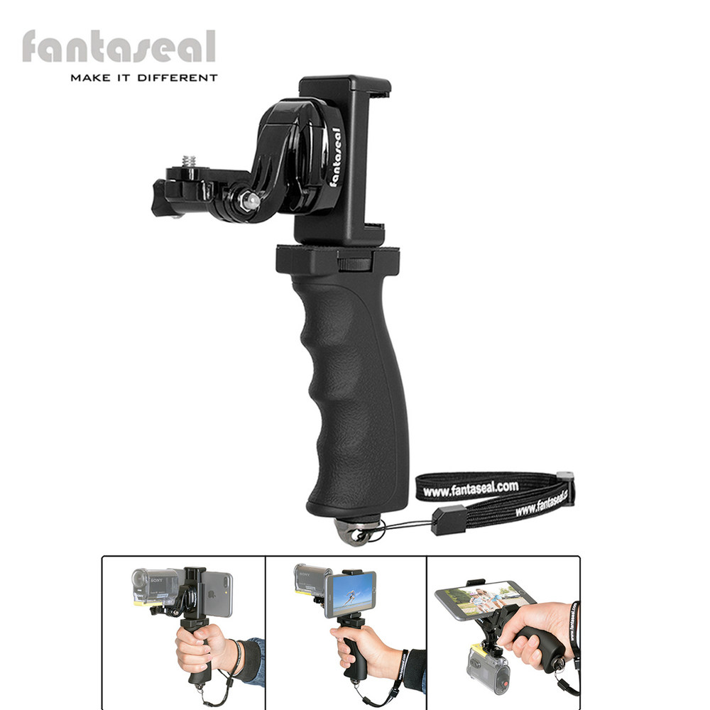 Fantaseal cámara de acción de mano + montaje de Clip de teléfono celular para Sony AS200V AS300R FD-X3000R KeyMission Gear 360 estabilizador titular
