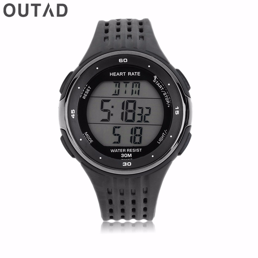 OUTAD 2 pcs/Set Watch + Chest Outdoor Sports Counter Wireless Chest Strap Heart Rate Heart Tracker Monitor Belt  Digital Watches