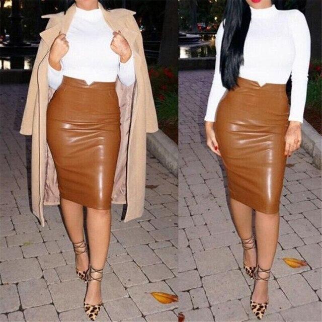 4453c492aa 2018 mujeres Sexy falda de cuero alta cintura Slim Party lápiz falda  vestidos estilo alta cintura
