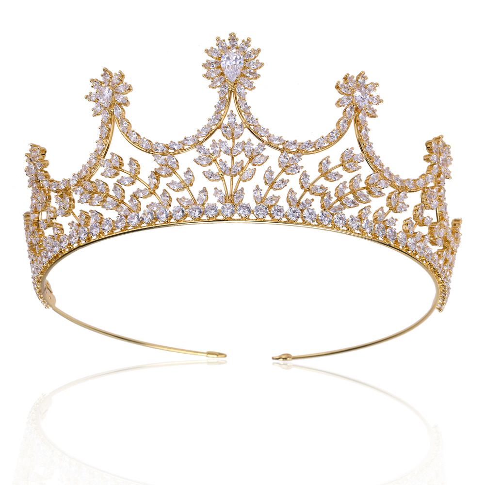 Luxury Full CZ Cubic Zirconia Wedding Bride Tiara Crown Hair Jewelry Accessories Evening Headpieces Tiaras 00009 red gold bride wedding hair tiaras ancient chinese empress hair piece
