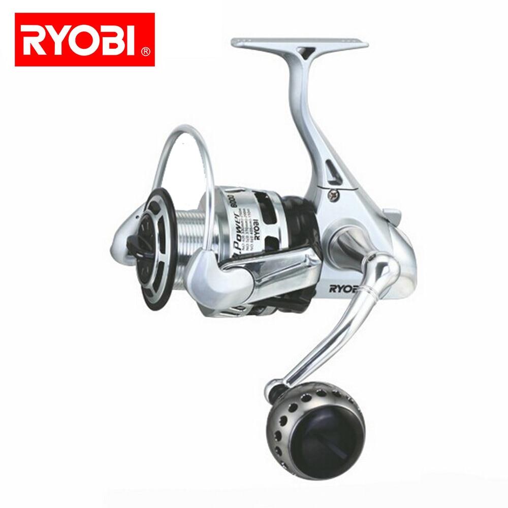 RYOBI 100% Original carrete de pesca TT de 5,0: 1 carrete giratorio 6 + 1 cojinetes 10 KG carretes de energía Japón con mango CNC