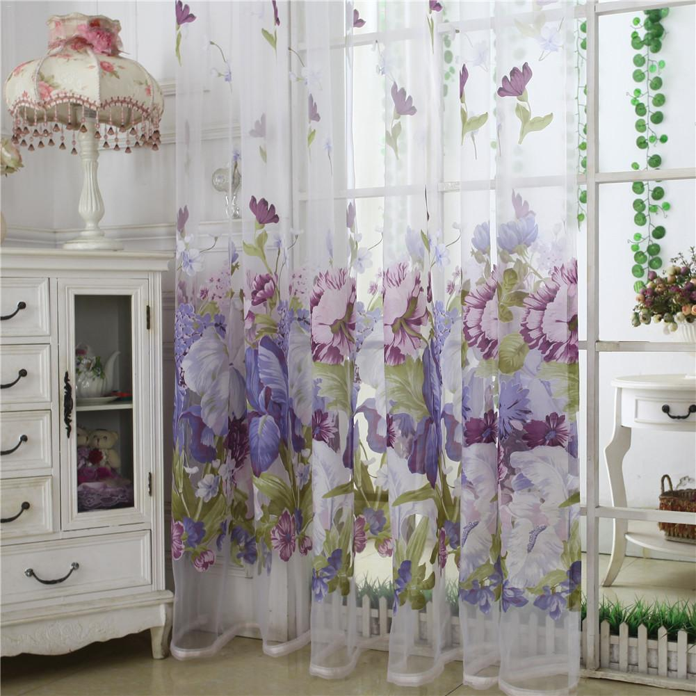 1 Panel Pastoral Peony Sheer Curtain for Living Room Jacquard Curtain for Bedroom Window Purple Floral Tulle Curtains 100x250cm