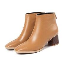 النساء الأحذية حار امرأة جلد البقر جلد طبيعي حجم كبير أوروبا والولايات المتحدة أحذية بوت قصيرة الموضة اليدوية كعب 5.5 سنتيمتر
