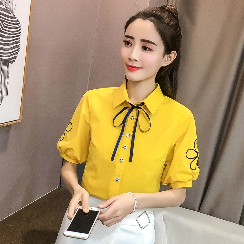 2018 New Summer Women Shirts Short Sleeve Loose Embroidery Stand Neck Clear Students Blouse Shirt White Red Yellow 5865 Blouses & Shirts