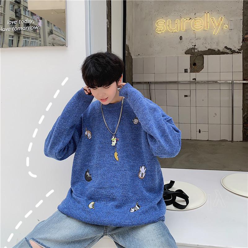 2019 Autumn And Winter New Harajuku Pullover Trend Sweater Original Old Rendering Knit Top Cotton