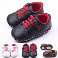 PU Leather Handmade Newborn Baby Kids Boys Prewalker Shoes Infant Toddler Crib Classic Leisure Soft Rubber Soled Outdoor Shoes