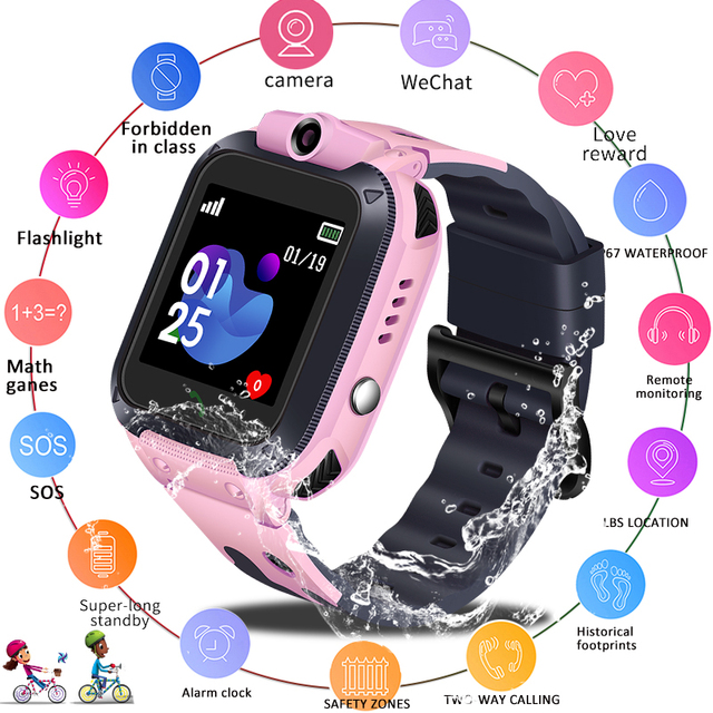 LIGE 2019 New Smart watch Phone Camera LBS Kid SmartWatches Baby Watch for Children SOS Call Location Finder Locator Tracker+Box