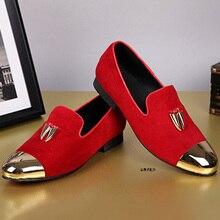 Мода Повседневная Мужская Кожаная Обувь Класса Люкс vogue Красный Свадебные Туфли продажи Металла Круглого Toe Suede Мокасины Поскользнуться На Квартиры мужская обувь.