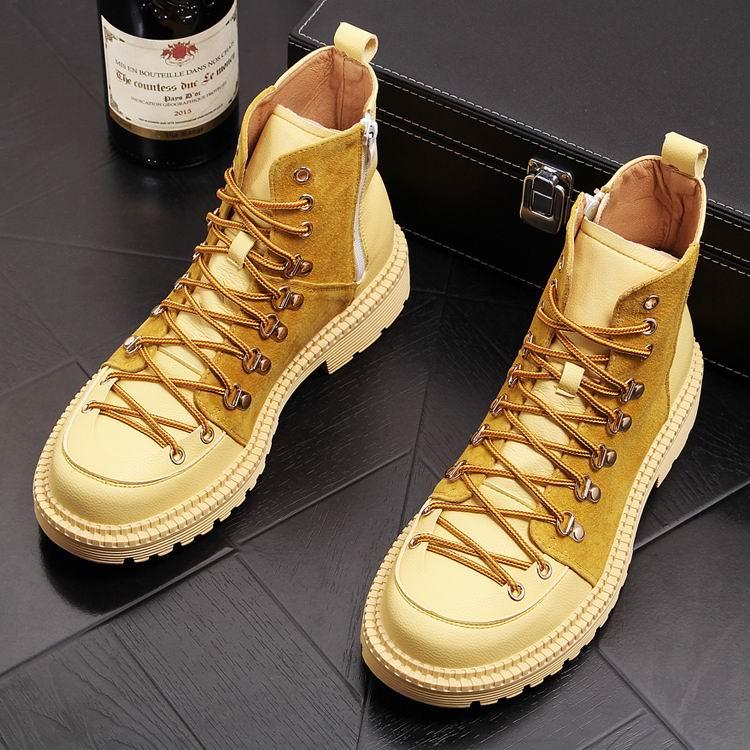 ERRFC Yeni Varış Erkekler Sarı iş çizmeleri Lüks Trend Yüksek Top günlük ayakkabı Için Adam Moda Tasarımcısı yarım çizmeler Boyutu 38 43'da  Grup 1