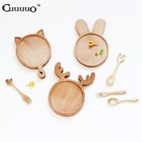 Cute Cartoon Animal Rabbit Bunny Cat Face Wood Dinner Plate Pattern Food Fruits Dish Wooden Service