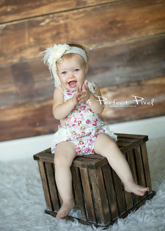 Vintage Inspired Floral Ruffle Romper Floral Shabby Chic