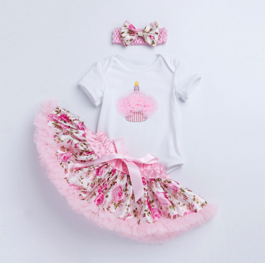 Baby Girl Clothes 1st Birthday Cake Smash Outfits Infant Clothing Sets Romper+Flower Tutu Skirt+bows Headband Newborn Suits Gift new born baby girl clothes leopard 3pcs suit rompers tutu skirt dress headband hat fashion kids infant clothing sets