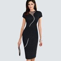 Sexy Kobiety Patchwork Dot Mesh Plus Rozmiar Letnia Sukienka W Stylu Vintage Kontrast Urząd Pracy Płaszcza Bodycon Pencil Dress B268 B215