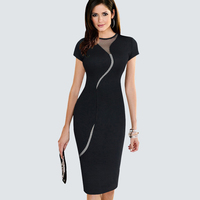 Brief Style Knitting Women Little Black Dress Summer Lace Patchwork Contrast Pencil Dress Sheath Knee Length