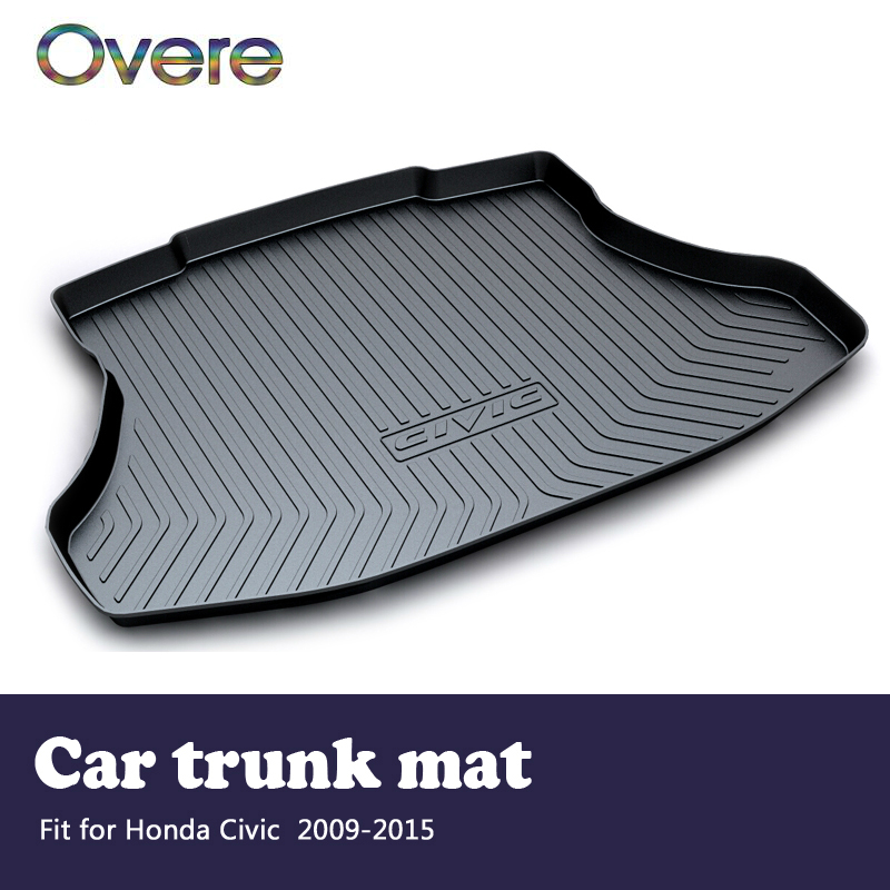 Overe 1Set Car Cargo rear trunk mat For Honda Civic 2009 2010 2011 2012 2013 2014 2015 Boot Liner Tray Anti-slip mat Accessories areyourshop auto cargo mat boot liner tray rear trunk sticker dog pet covers for kia soul 2009 2010 2013 car covers