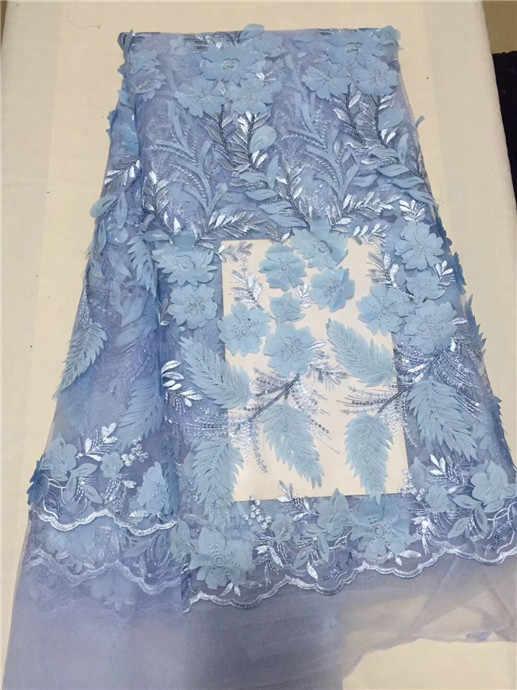 Nuovo stile Francese tessuto di pizzo netto royal blue 3d tessuto di pizzo tulle africano tessuto di pizzo di maglia di alta qualità 2018 nero bianco Rosa