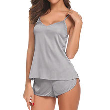 e78b99a756 Sexy Lingerie Women Sleepwear Sleeveless Strap Nightwear solid Trim Satin  Cami Top Sets Underwear casual NightGowns