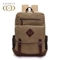 Coofit Vintage Men S School Backpack Large Capacity 15 Inch Laptop Backpacks For Male Men Boys