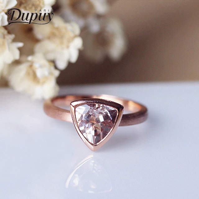 Dupuy Clic Wedding Ring 14k Rose Gold 8mm 1 5ct Trillion Cutting Morganite Triangle Engagement