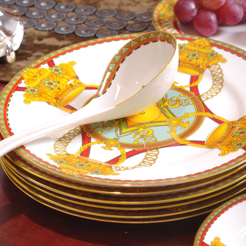 Gold Plated Dishes and Plates Sets Porcelain Dinnerware Set Fine Bone China Ceramic Flatware Chinese Tableware & Gold Plated Dishes and Plates Sets Porcelain Dinnerware Set Fine ...