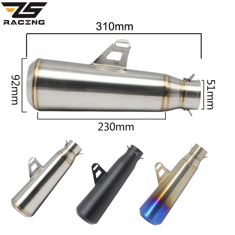 ZS Racing 51mm Universal Motorcycle Exhaust SC Muffler Modified Exhaust Stainless Steel For Most Motorbike ATV Motocross