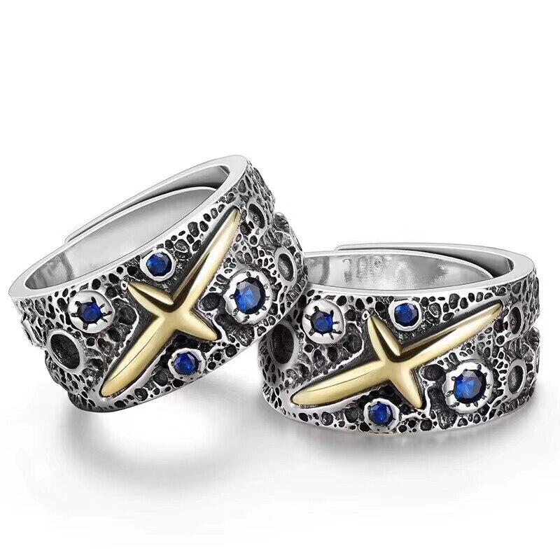 Galaxy Blue Sky тайский серебро 925 Для мужчин s кольцо чистое серебро 925 компл. синий камень ручной оригинальные украшения Для мужчин подарок