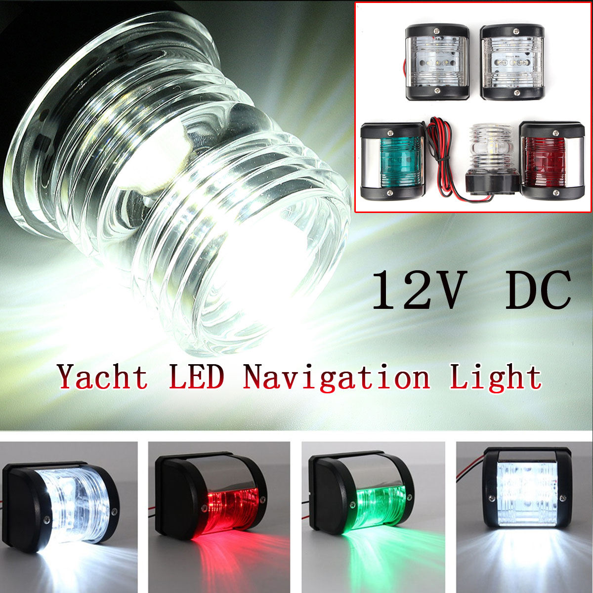 Marine Hardware Jeazea 2pcs Dc12v 8w Green Red Marine Navigation Led Light Starboard Port Side Light For Boat Yacht Skeeter