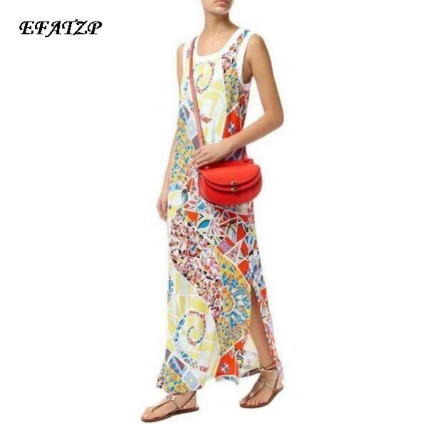 New 2016 summer Designer Runway Dress Women s Sleeveless Elegant Geometry Printed Plus Size XXL Maxi