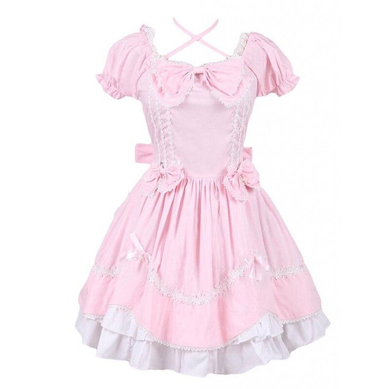 Peut être personnalisé 2018 rose et blanc à manches courtes noeud avec cravate gothique victorien Lolita robes pour les femmes personnalisé