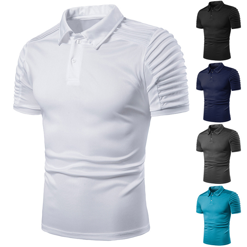 Short Sleeve New 2019 Summer   Polo   Solid Slim Shirt Men Crease Grey Black Casual   Polos   Breathable White Shirt Mens Clothes S