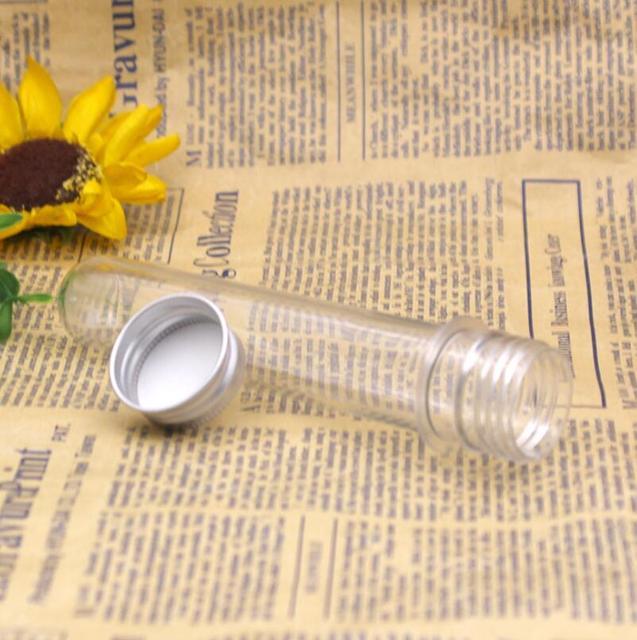 20ML 40ML PET Clear Plastic Empty Refillable Test Tube Bottle With Aluminum Caps Cosmetic Mask Bath Salts Vial LX6311