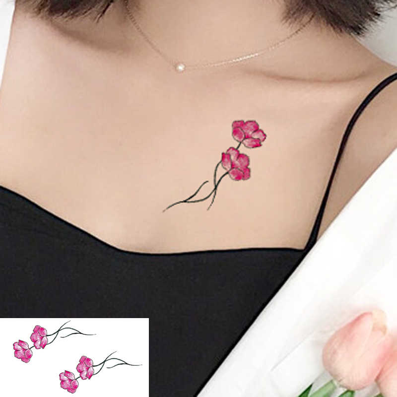 Colored fashion waterproof temporary tattoo sticker women sex flash fake tatoo tatto henna red blossom flower little tree XL42
