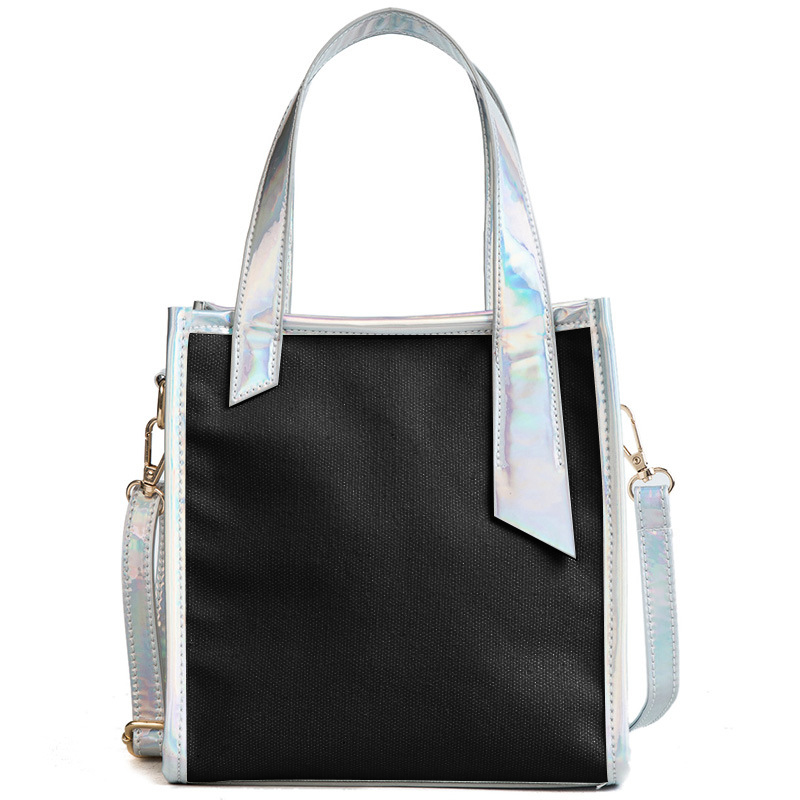 Bucket Bag PVC&Canvas Shoulder Bag Laser Handbag Zipper Totes