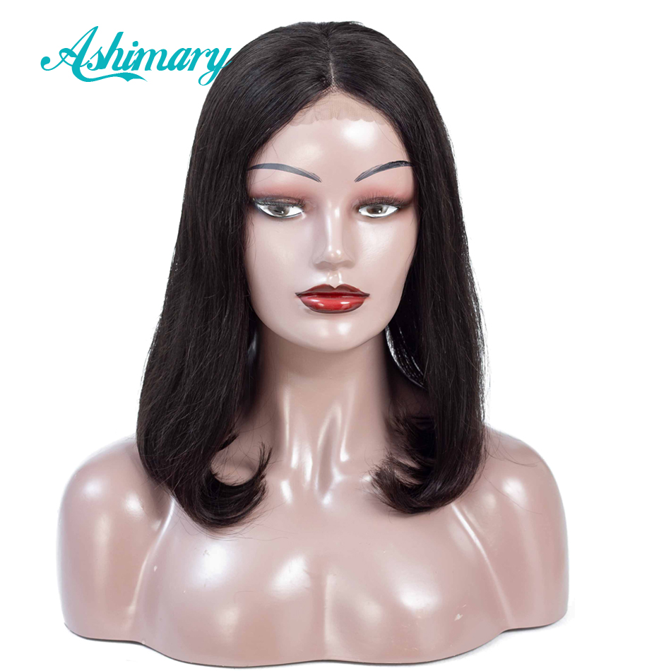 Ashimary Wigs Lace-Front Pre-Plucked Hair-Bob Short Bob Straight Black Women for Remy