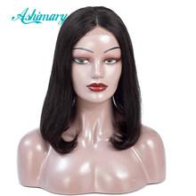 Short Bob Straight Lace Front Wigs Pre Plucked Wigs for Black Women Remy Pervuain Hair Bob Wig 4x4 Lace Closure Wig Ashimary(China)