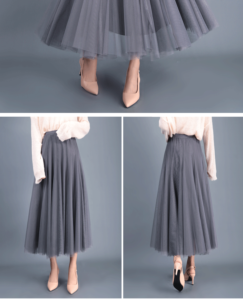 Jielur Autumn 3 Layers Princess Tulle Skirts Vintage Solid Color Mesh Women Skirt Pleated A-line Saia Female Jupe Tutu Skirts 13
