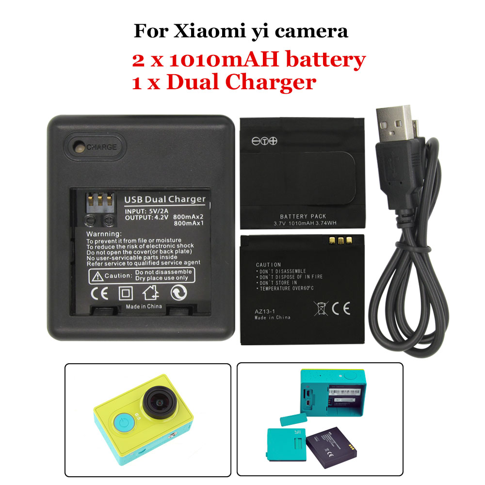 2 Pieces Backup Rechargable Li ion Battery For font b Xiaomi b font yi Action Camera