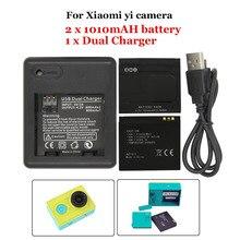 2 unidades de reserva recargable Li ion de la batería para Xiaomi yi acción cámara + USB del puerto Dual del cargador de batería Sport accesorios foto cámara