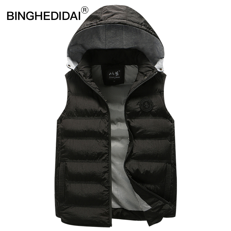 BINGHEDIDAI Official Store Jacket sleeveless men washed fabric waistcoat men puffer jacket zipper men waistcoat vest detachable hat jacket