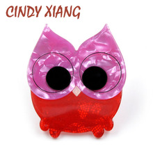CINDY XIANG Acetate Fiber Material Cute Acrylic Owl Brooches for Women Fashion Animal Brooch Pin High Quality Jewelry Broches