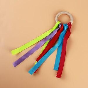 Многоцветная лента детская игрушка радужные стримеры деревянная кольцевая лента Вальдорф с колокольчиком ручной кайт игрушки стримеры де...