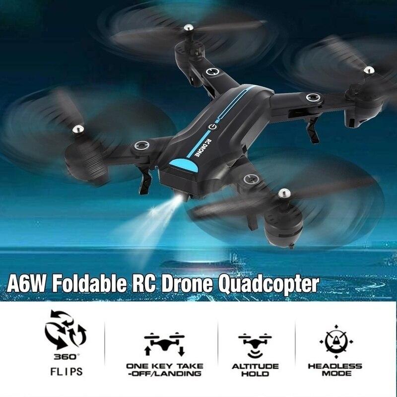 Quadcopter A6W składany RC Drone Wi-Fi FPV 720P szerokokątny kamera HD/kamera wideo na żywo wysokość przytrzymaj RTF