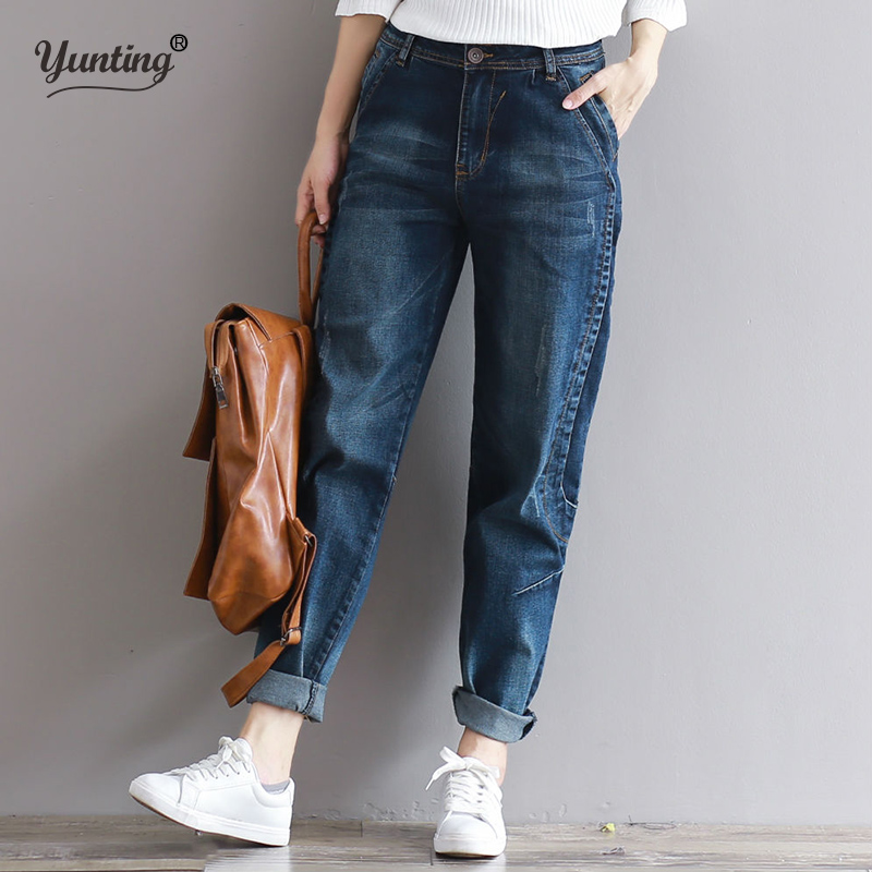 yunting Trousers Plus Size Denim High Waist Women